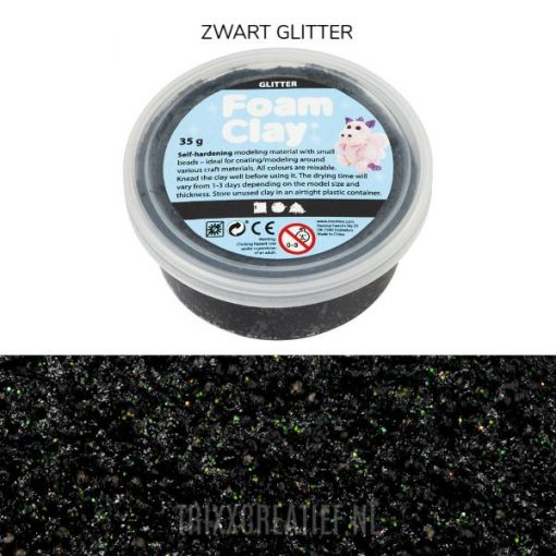 788860 Foam Clay Zwart Glitter
