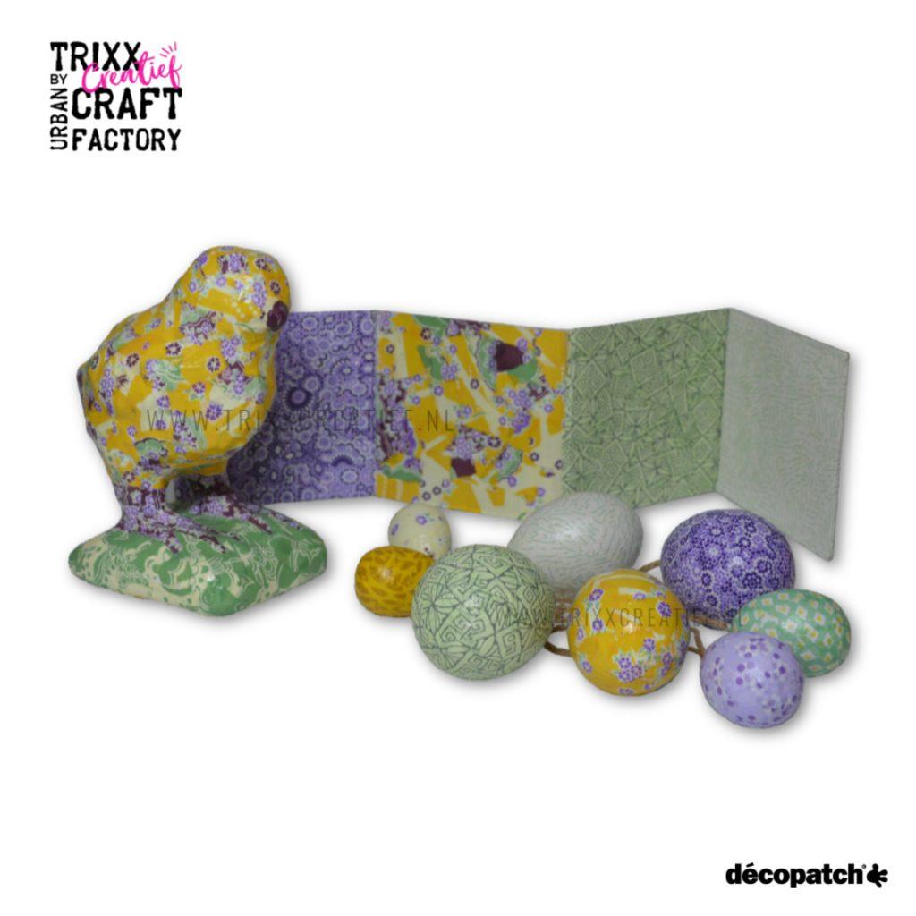 SA208-510421 Voorbeeld 01 Decopatch Inspiratie Kuiken met eieren Papiermache