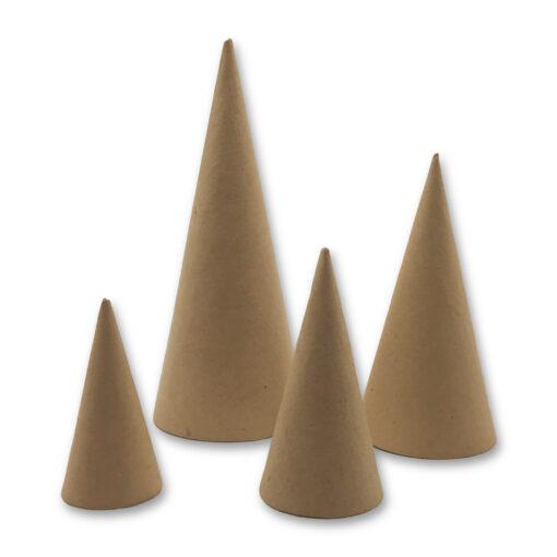 265490 Papier-maché Kegels 8-10-14-20 cm