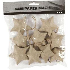 50436 Papier-maché sterren 6cm 9 stuks