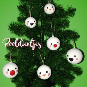 510313 Kerstballen met Pooldier gezichtjes