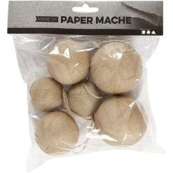 510313 Papier-maché Kerstballen 4-5-6cm 6 stuks