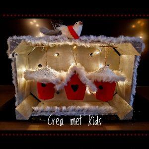 Kerst Vogelhuisjes in een kistje van Crea met Kids 26531