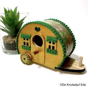 56114 Houten Caravan Goud met Groen - De Knutseljuf