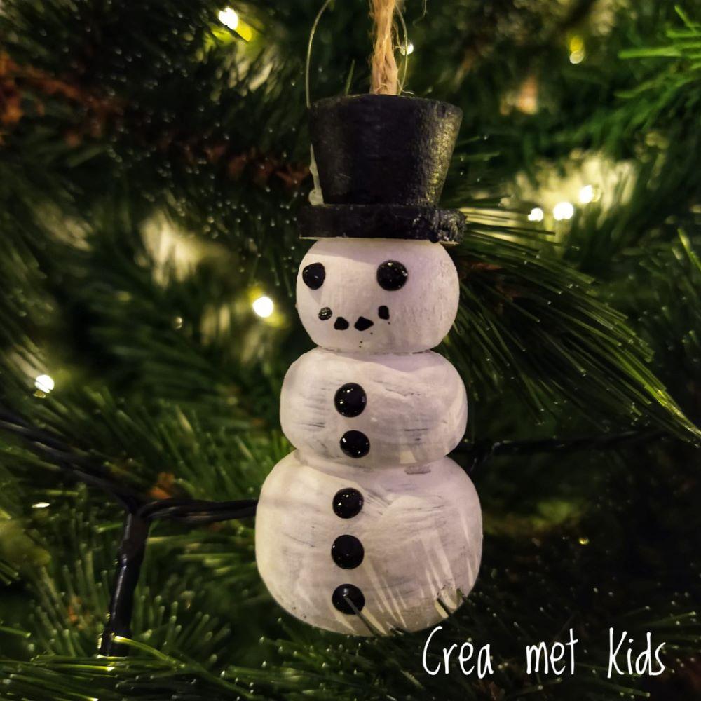 58060 Houten Kersthanger Sneeuwpop - Crea met kids