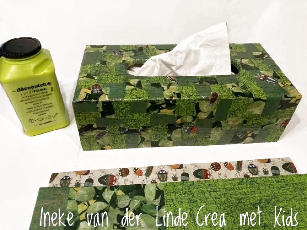 HG096 Houten Tissuedoos in groen met beestjes - Crea met Kids