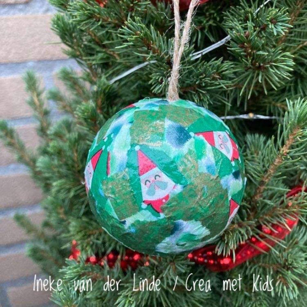 Kerstbal FDA829 Groen Kerstdessin - Crea met kids