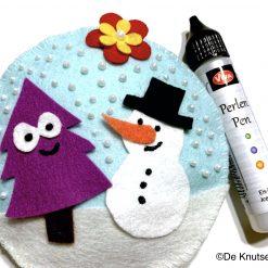 Vilten Sneeuwbol met Parel stippen - De Knutseljuf