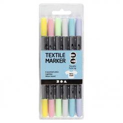 34829 Textielstiften 6 Stuks - Pastel Kleuren