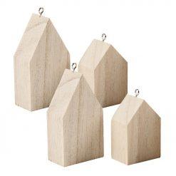 55957 Huisjes hangers 4 stuks - Hout