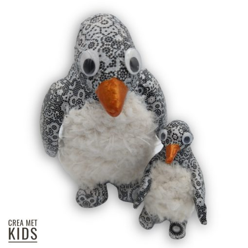 vb AP117 en SA116 Pinguins met Décopatch en Wooly Curls - Crea met Kids