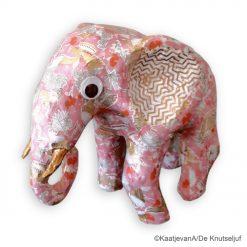 vb SA213 Roze Afrikaanse Olifant met Décopatch goudfolie papier - De Knutseljuf