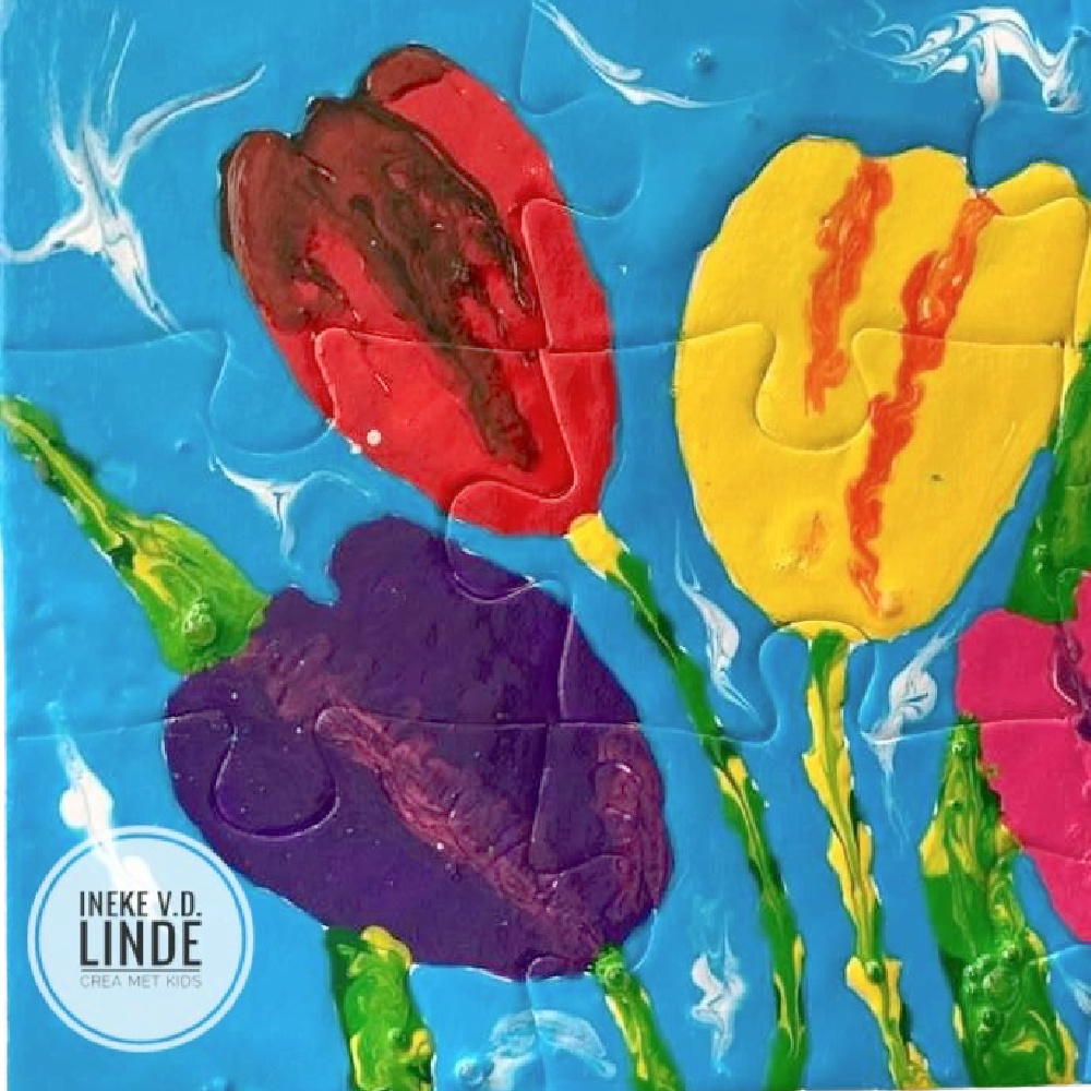 vb Tulpen Puzzel met Colorall Koud Emaille - Ineke van der Linde - Crea met Kids