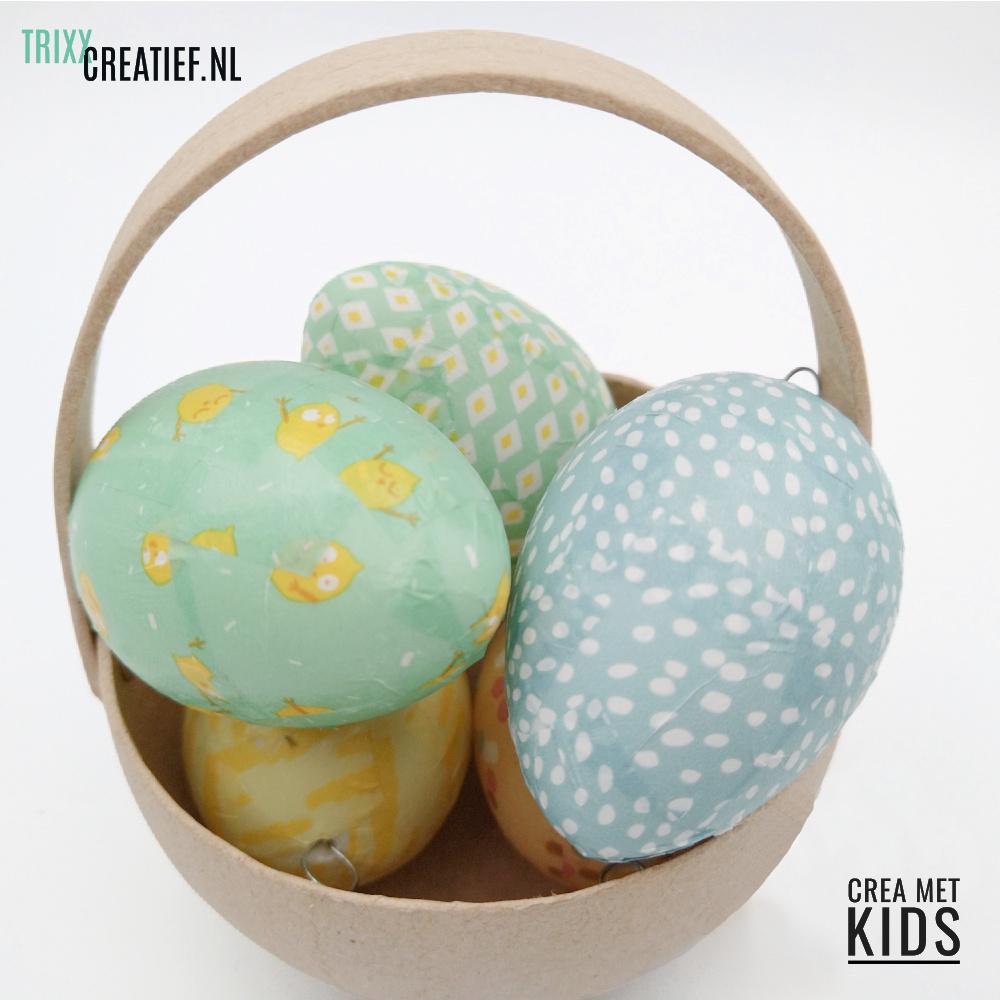Crea Met Kids 510320 Plastic Eieren met Décopatch in mandje