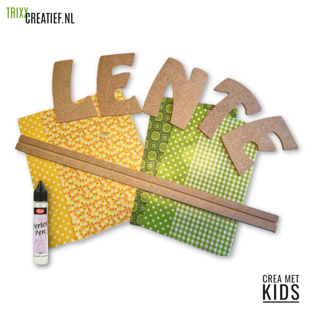 Crea met Kids PKT06 MDF Letter Tekst Lente met Décopatch