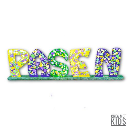 Vb PKT08 01 MDF Letter Tekst Pasen Crea Met Kids