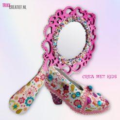 Crea Met Kids HG631 en 26695 Houten Prinsessen Spiegel met Schoentje