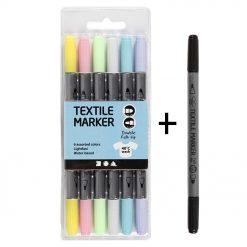 34829Z Textielstiften 7 Stuks - 6 Pastel Kleuren + 1 Zwart