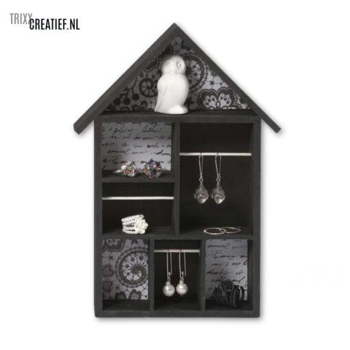 Trixx Creatief - 575160 Letterbakhuisje voor Sieraden - Zwart Wit