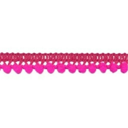 902344260 Mini Bolletjesband Pompom - Fuchsia Roze