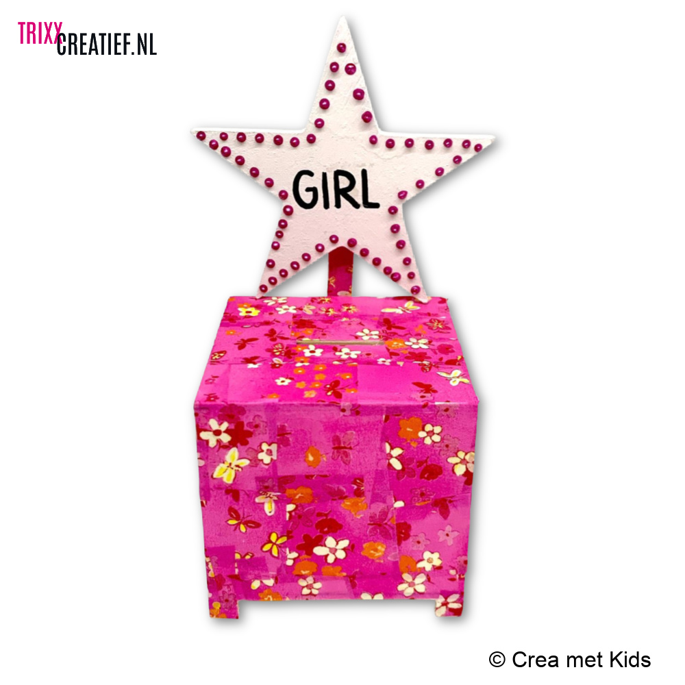Crea met Kids - BIZ175 Spaarpot Kubus Girl met Décopatch