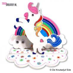 De Knutseljuf - 6716101 MDF Eenhoorn Set met Regenboog