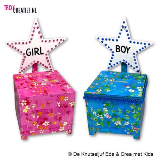 De Knutseljuf en Crea met Kids - BIZ175 Spaarpot Kubus met Décopatch