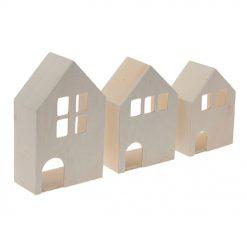 863077 Set van 3 Huisjes - Hout