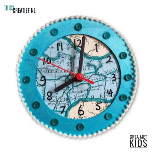 Crea Met Kids - 544260 Houten Klok met Décopatch Landkaart