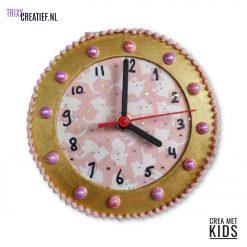 Crea Met Kids - 544260 Houten Klok met Décopatch Poesjes