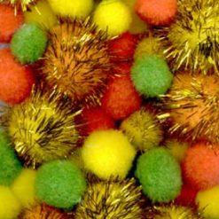 12233-3305 Pompons 2-2.5-3.5 cm - 50 Stuks - Geel Oranje Groen - Pasen