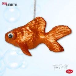 Trixx Creatief - AP114 Décopatch Vis met Viva Decor Metallicverf - Oranje Goud