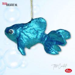 Trixx Creatief - AP114 Décopatch Vis met Viva Decor Metallicverf - Turquoise